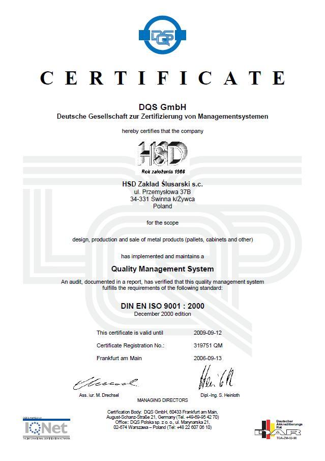 Certyfikat ORGINAŁ 1HSD QM E