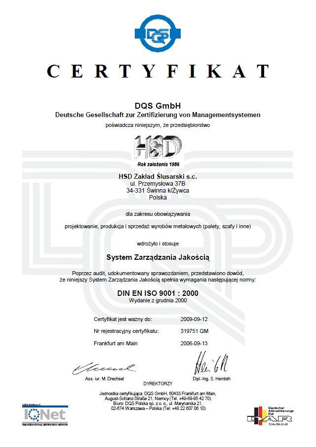 Certyfikat Orginał 3 HSD QM PL